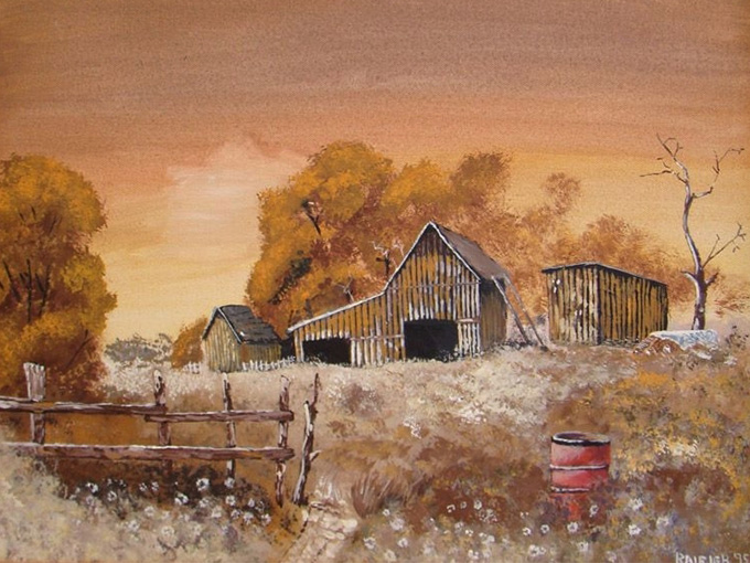 Painting of a barn in the fall
