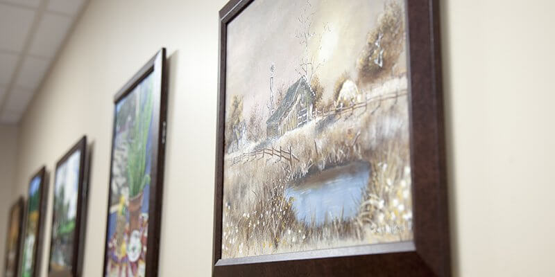View of artwork in office