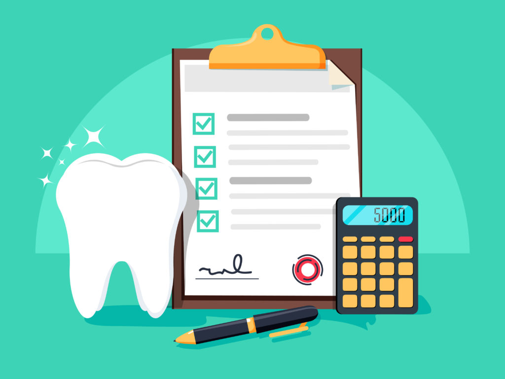 Illustration of calculator, tooth, and dental insurance paperwork